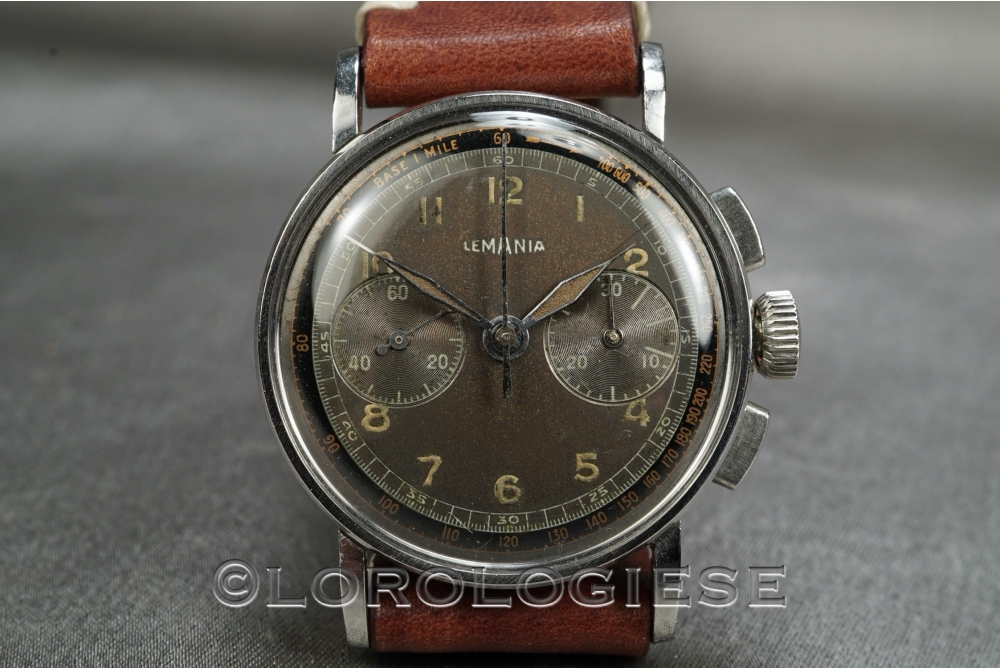 Lemania - Vintage 1940 Glossy Dial Military-Style Chronograph - Cal. 27.CH