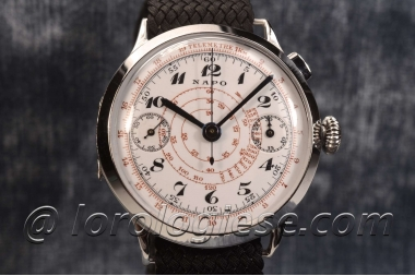 NAPO – Vintage 1930`s Hinged Back Enamel Dial 38 mm Chronograph – Cal.Hahn