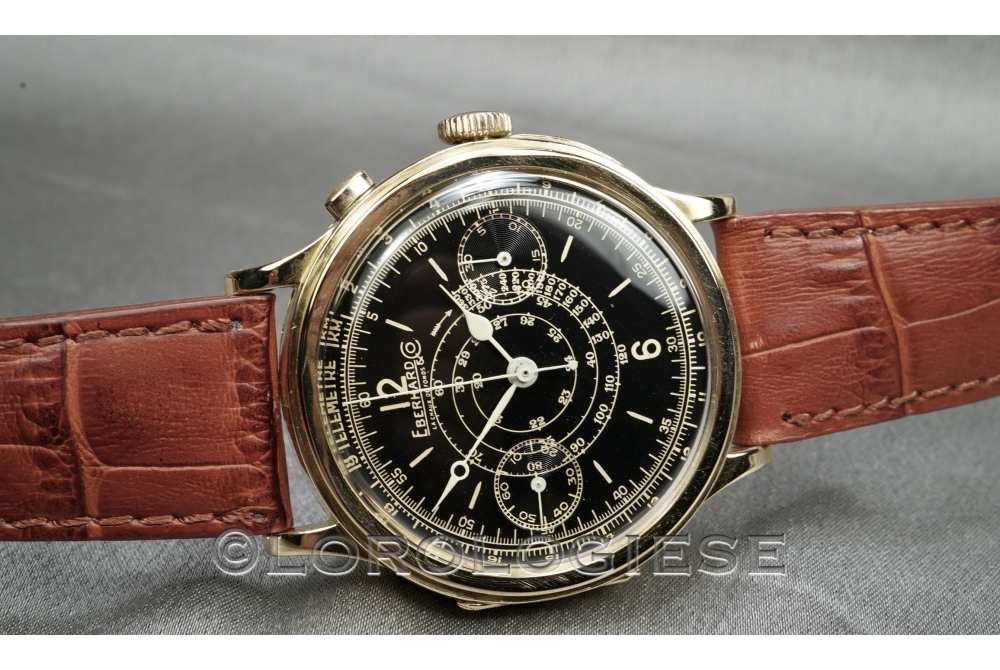 Eberhard - Vintage Step-Case 18Kt. Gold Black Glossy Dial 1920 Chrono - Cal. 16000