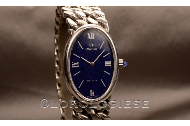 OMEGA - Oroginal 1974 Lady`s Bracelet Sterling Silver Lapis-Blue Dial Watch - Cal. 625