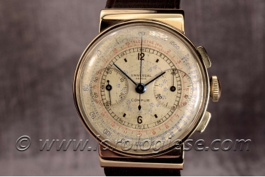UNIVERSAL GENEVE – Compur Hooded Lugs Ref. 12401 Original 1938 Gold Chronograph – Cal. 285