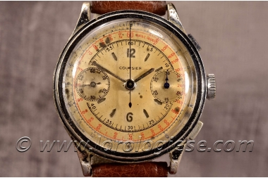 COURIER – Original 1940 Sandwich Dial Step-Case Chronograph – Landeron 39