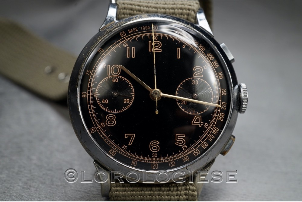 Anonymous - German Military Chronograph Glossy Black Dial - Cal. Valjoux 22