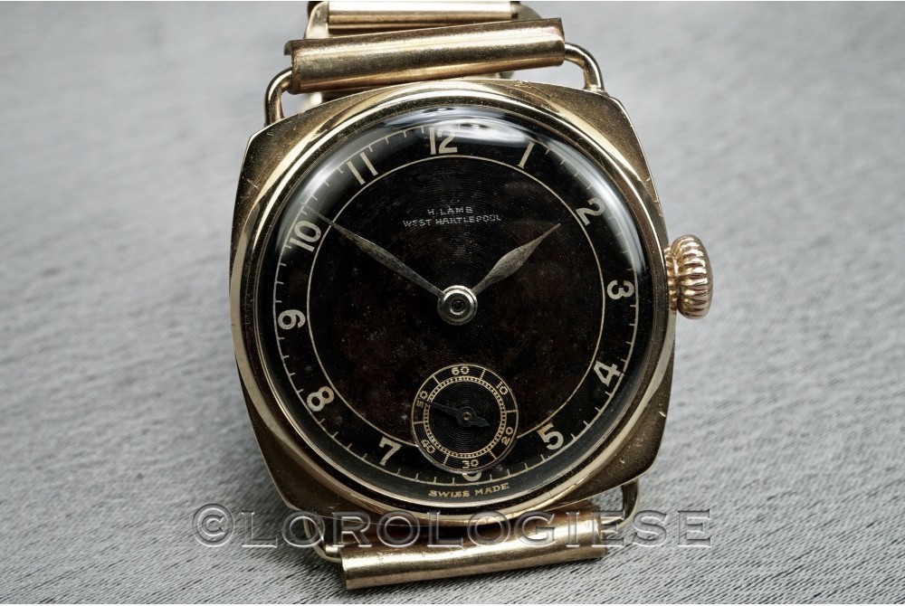 W. Lambs - W. Hartlepool - 1930 Solid Gold Vintage Black Glossy Dial Watch - Cal. Percee